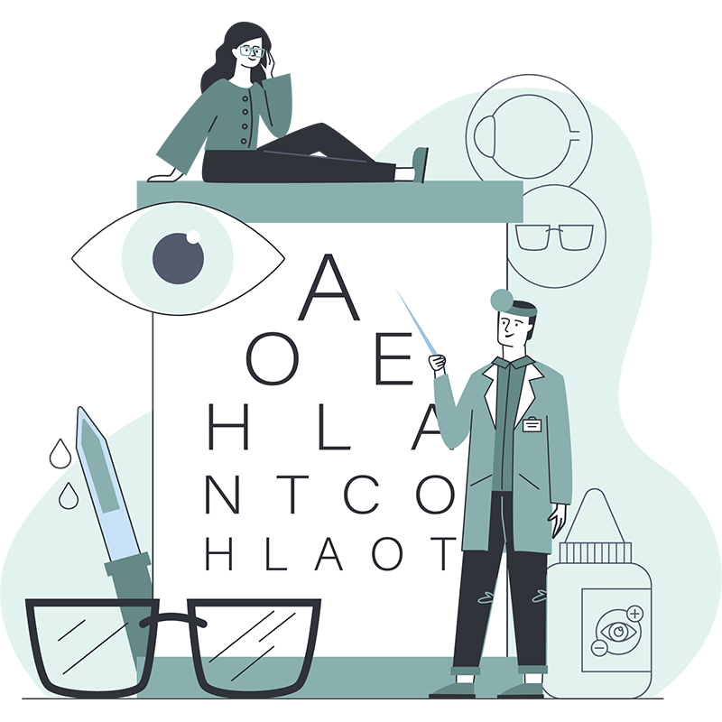 Drawing of Optometrist Iconography